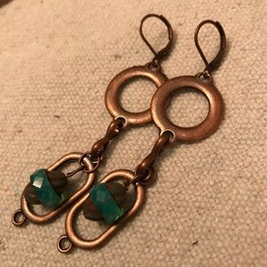 """Jewelry - 3"""" Copper with teal quartz bead"""